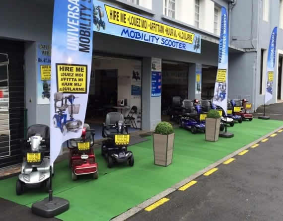 Outside view of Mobility Scooter rental shop in Lourdes